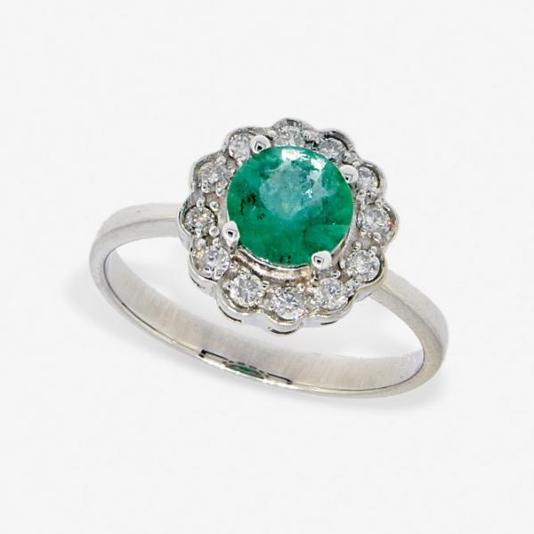 Ювелирное кольцо из белого золота 585 пробы с изумрудом и бриллиантами RE-6287w