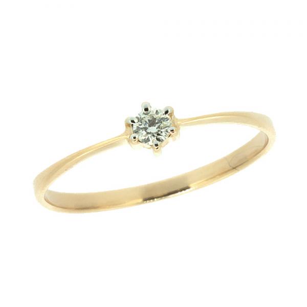 Ювелирное кольцо из красного золота 585 пробы с бриллиантом RD-6773