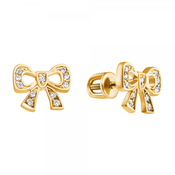 Золотые серьги-пусеты в желтом золоте с бриллиантами ED-00203y
