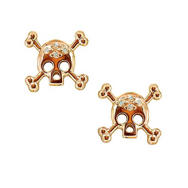 Золотые серьги-пусеты в красном золоте с бриллиантами ED-00263