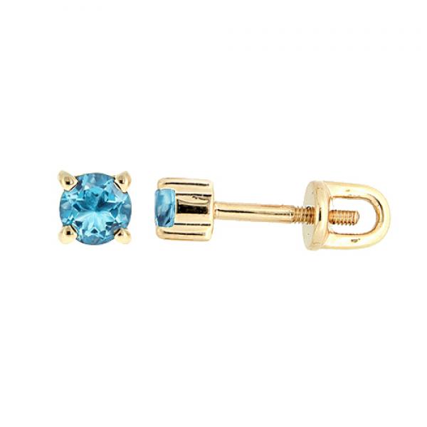 Золотые серьги-пусеты в красном золоте с топазами ET-6633
