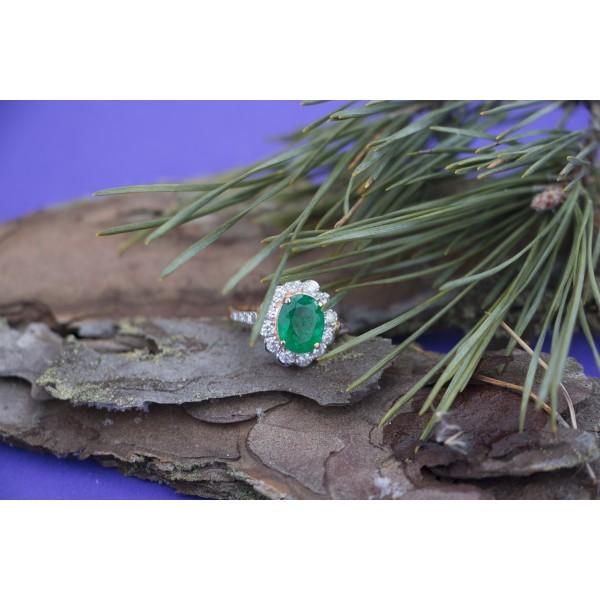 Ювелирное кольцо из красного золота 585 пробы с изумрудом и бриллиантами RE-6281