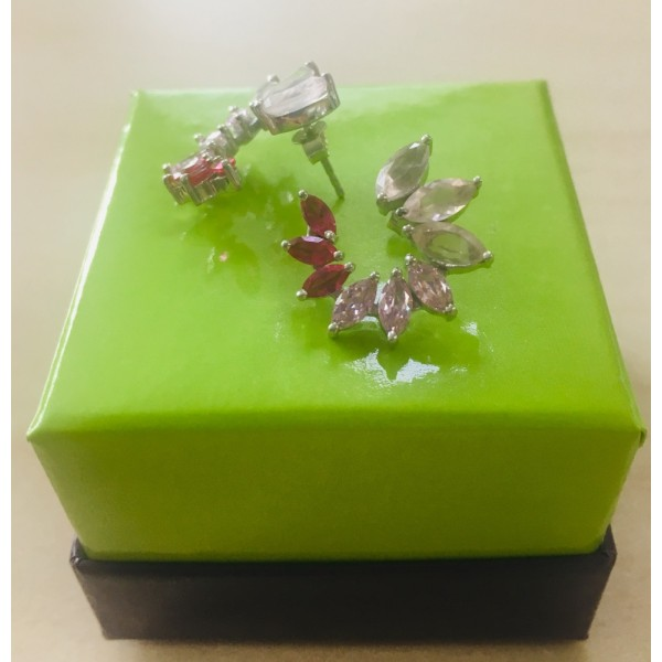 Серьги из белого золота 585 пробы с рубинами и розовым кварцем ERQr-7933w