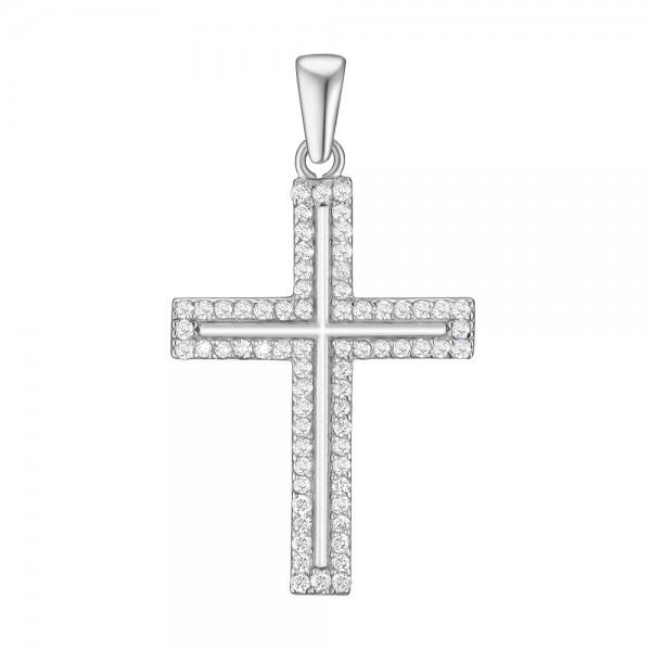 Крестик из белого золота 585 пробы с бриллиантами PD-8055w