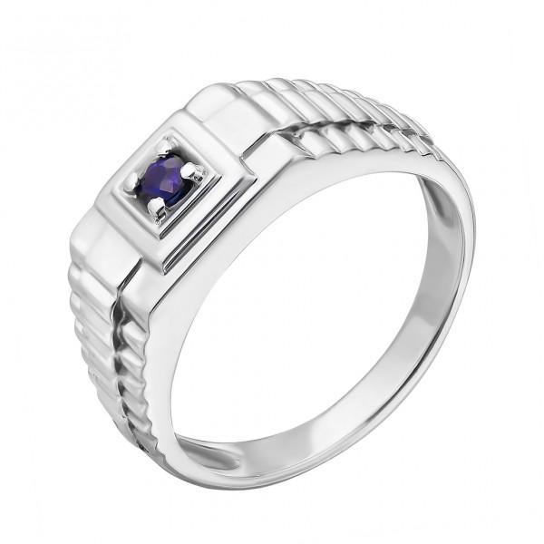 Ювелирное мужское кольцо из серебра 925 пробы с сапфиром RS-3671Ag
