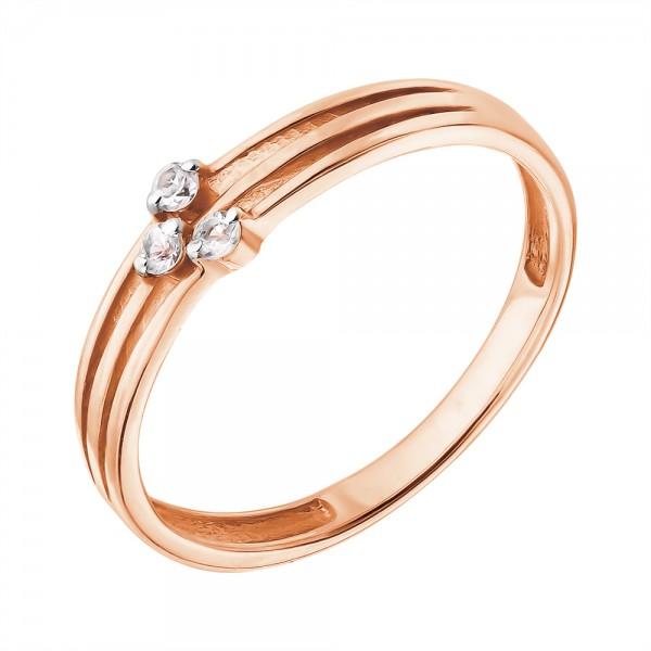 Ювелирное кольцо из красного золота 585 пробы с белыми сапфирами RSw-6706