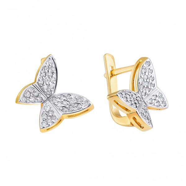 Ювелирные серьги из желтого золота 585 пробы с бриллиантами ED-6176y
