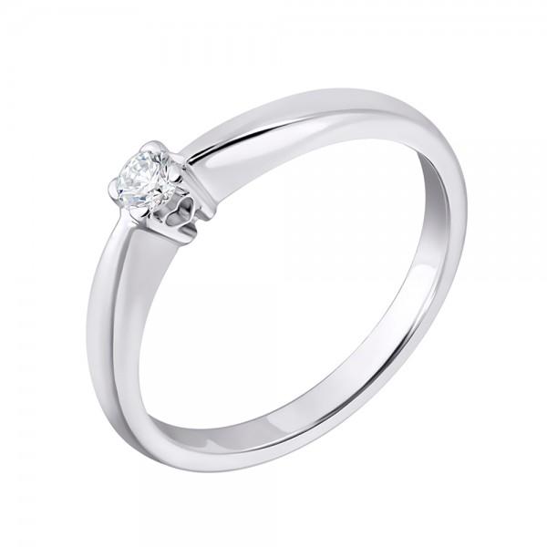 Ювелирное кольцо из белого золота 585 пробы с бриллиантом RD-6778w