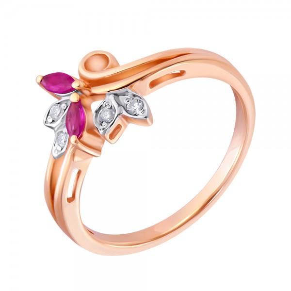 Ювелирное кольцо из красного золота 585 пробы с рубинами и бриллиантами RDR-5565