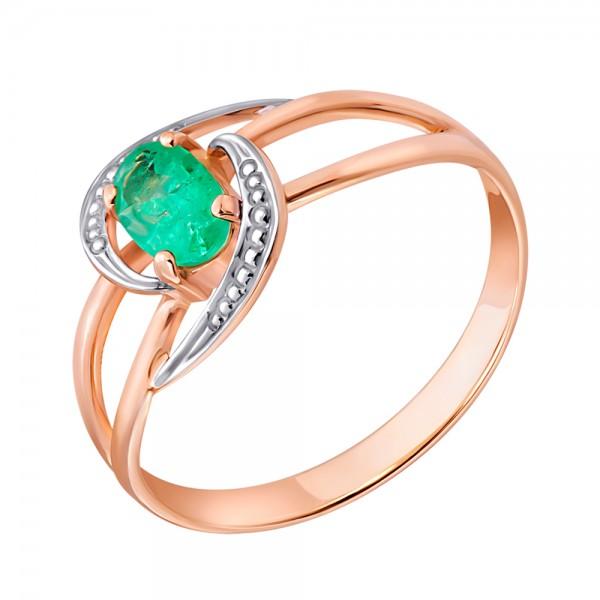 Ювелирное кольцо из красного золота 585 пробы с изумрудом RE-6690