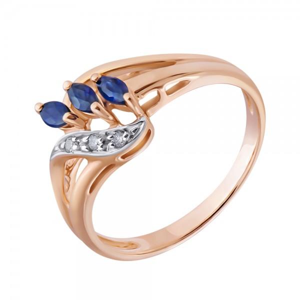 Ювелирное кольцо из красного золота 585 пробы с сапфирами и бриллиантами RS-4284