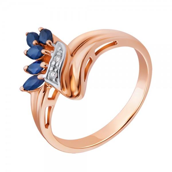 Ювелирное кольцо из красного золота 585 пробы с сапфирами и бриллиантами RS-4306