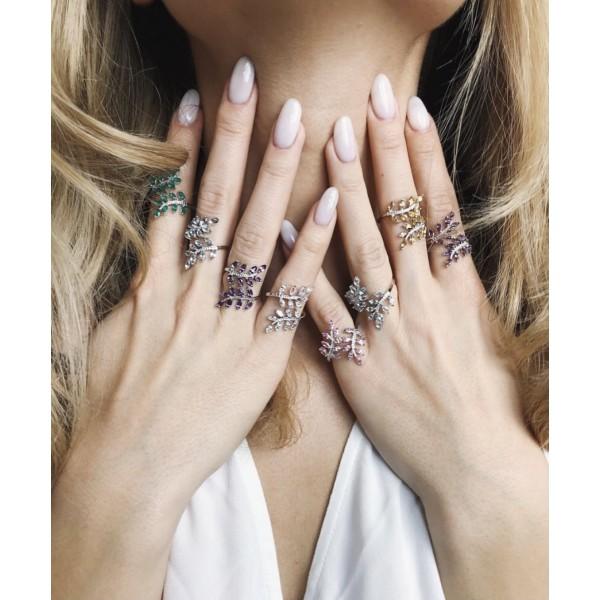 Серебряное кольцо с зелеными агатами Веточка RAgt-7841Ag