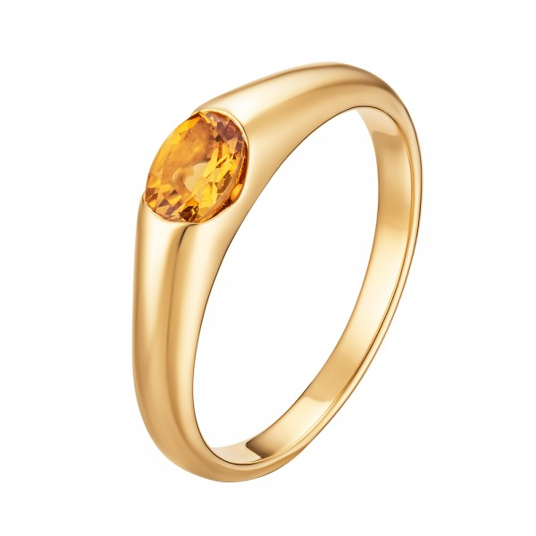 Кольцо из жёлтого золота 585 пробы с цитрином RCt-15790y
