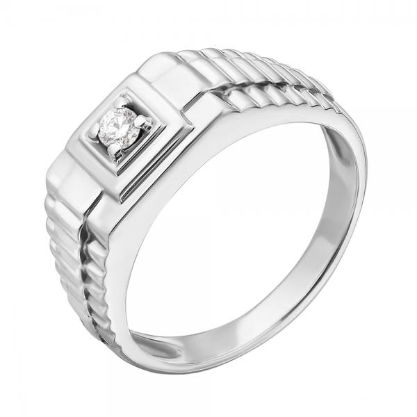 Ювелирное мужское кольцо из белого золота 585 пробы с бриллиантом RD-3671w
