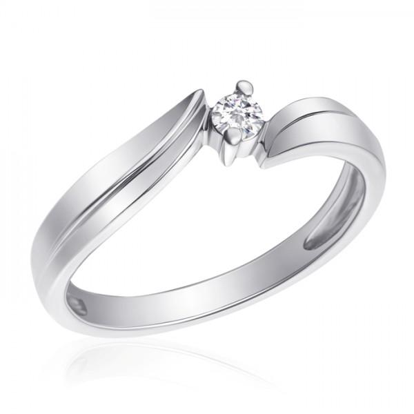Ювелирное кольцо из белого золота 585 пробы с бриллиантом RD-4285w