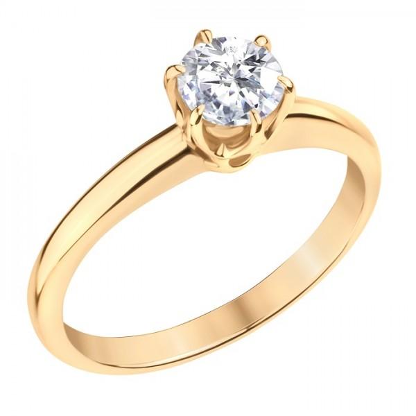 Кольцо из желтого золота 585 пробы с бриллиантом RD-6353y