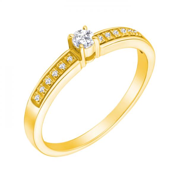 Ювелирное кольцо из желтого золота 585 пробы с бриллиантами RD-6695y