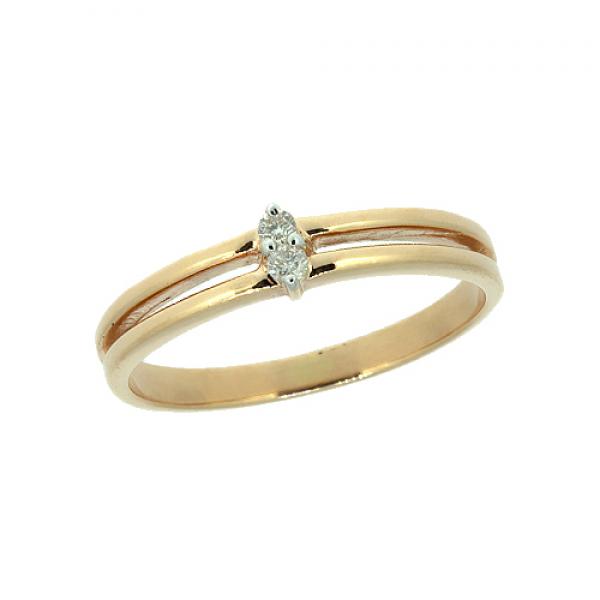 Ювелирное кольцо из красного золота 585 пробы с бриллиантами RD-6727