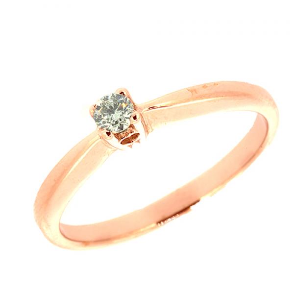Кольцо из красного золота 585 пробы с бриллиантом RD-6778