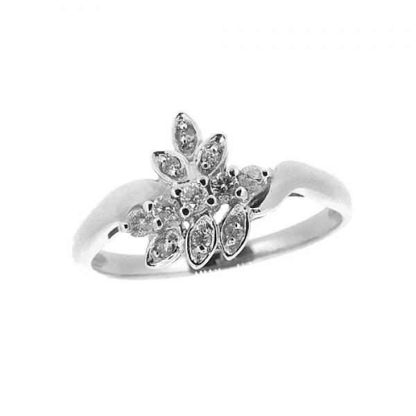 Ювелирное кольцо из белого золота 585 пробы с бриллиантами RD-9050w