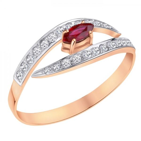Кольцо из красного золота 585 пробы с рубином и бриллиантами RDR-6730