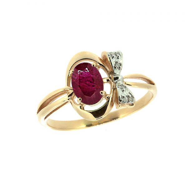 Кольцо из красного золота 585 пробы с рубиноми бриллиантами RDR-6754