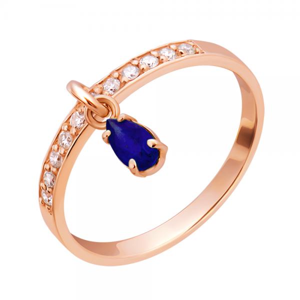Ювелирное кольцо из красного золота 585 пробы с сапфиром и бриллиантами RDS-6904