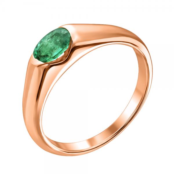 Ювелирное кольцо из красного золота 585 пробы с изумрудом RE-15790