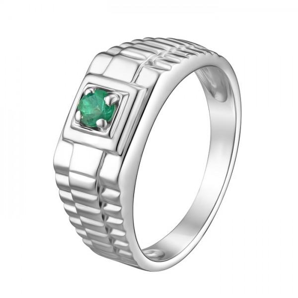 Cеребряное мужское кольцо 925 пробы с изумрудом RE-3671Ag