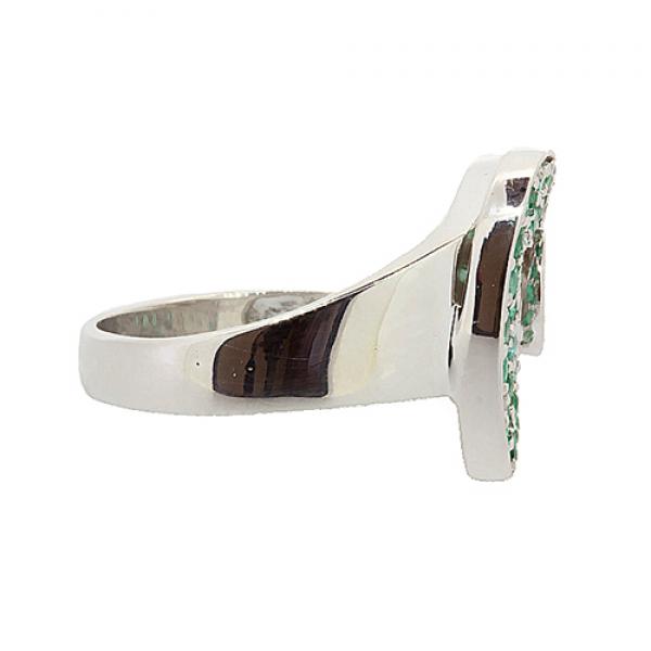 Серебряное кольцо с натуральными изумрудами RE-6451Ag