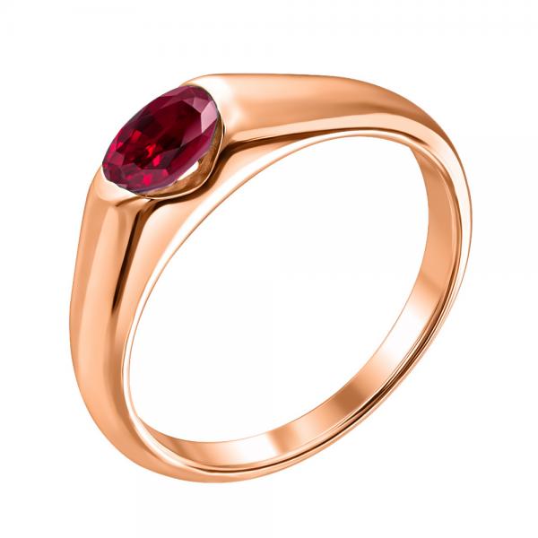 Ювелирное кольцо из красного золота 585 пробы с рубином RR-15790