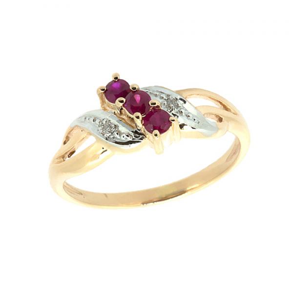 Ювелирное кольцо из красного золота 585 пробы с рубинами и бриллиантами RR-6053