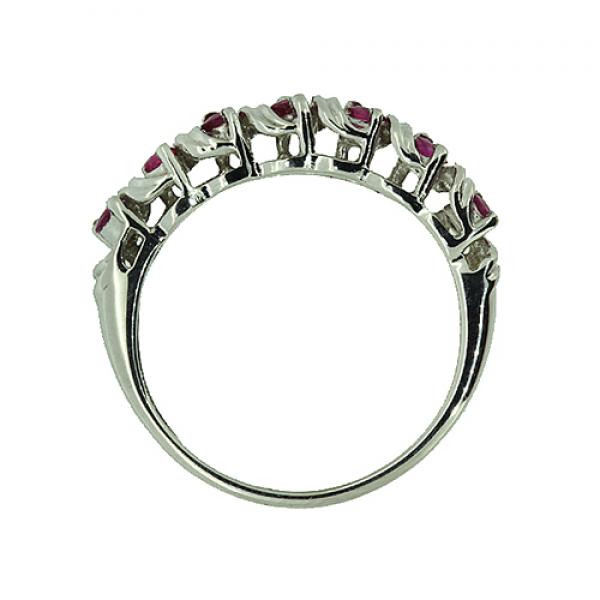 Ювелирное кольцо из серебра 925 пробы с рубинами RR-6108Ag