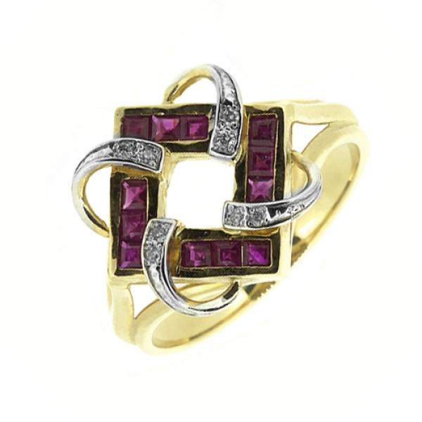 Ювелирное кольцо из жёлтого золота 585 пробы с рубинами и бриллиантами RR-6165y