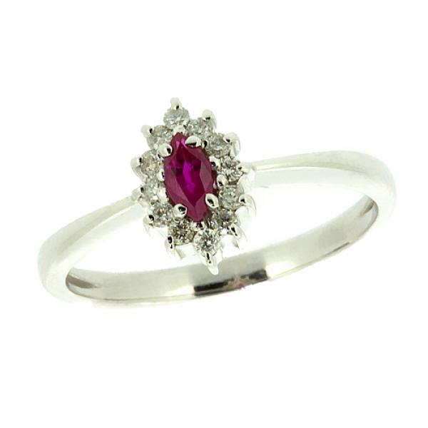 Ювелирное кольцо из белого золота 585 пробы с рубином и бриллиантами RR-9040w