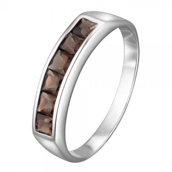 Ювелирное кольцо из белого золота 585 пробы с раух-топазами RRt-6121w
