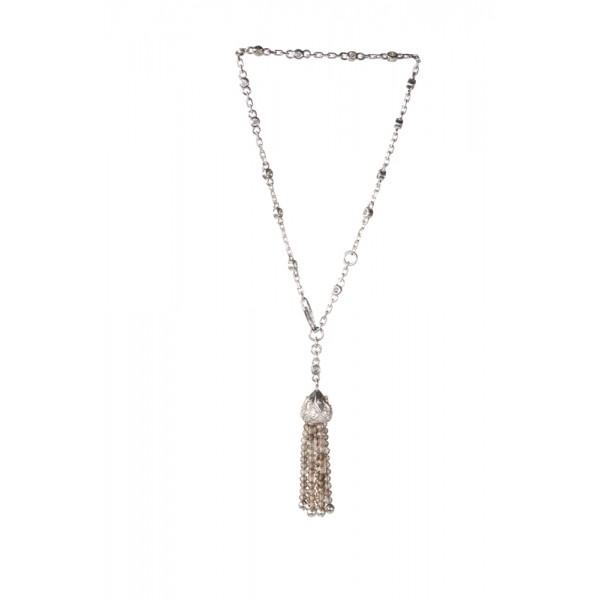 Серебряный браслет ручной сборки с кисточкой из раух-топазовых бусин и фианитами BCCzRt-00657Ag