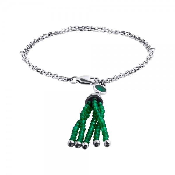 Серебряный браслет ручной сборки с кисточкой из зеленого оникса и эмалью BCOn-00658Ag