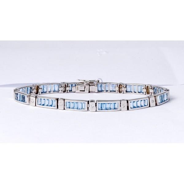 Ювелирный браслет из белого золота 585 пробы с топазами и бриллиантами BCT-6104/13w