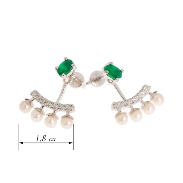 Серебряные серьги-джекеты 925 пробы с зелеными агатами, жемчугом и фианитами ECzAgtP-7768Ag