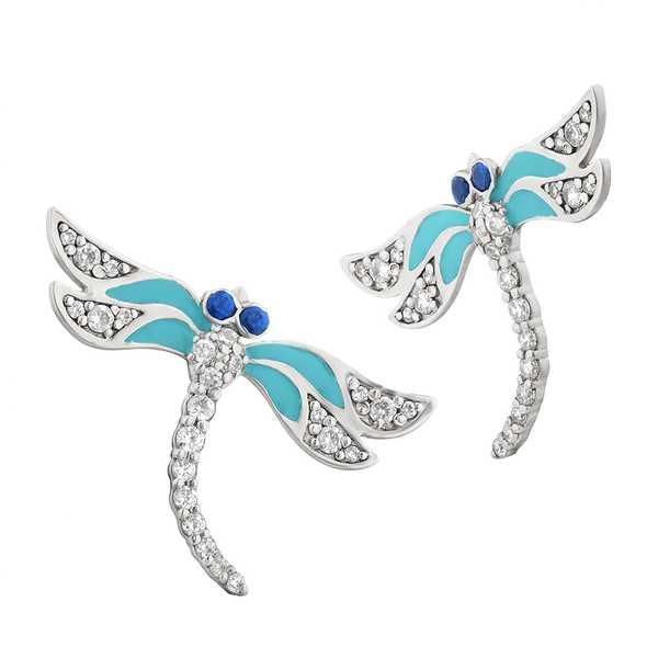 """Фантазийные серебряные серьги """"Голубые стрекозы"""" с эмалью и фианитами ECzEnam-7832Ag"""