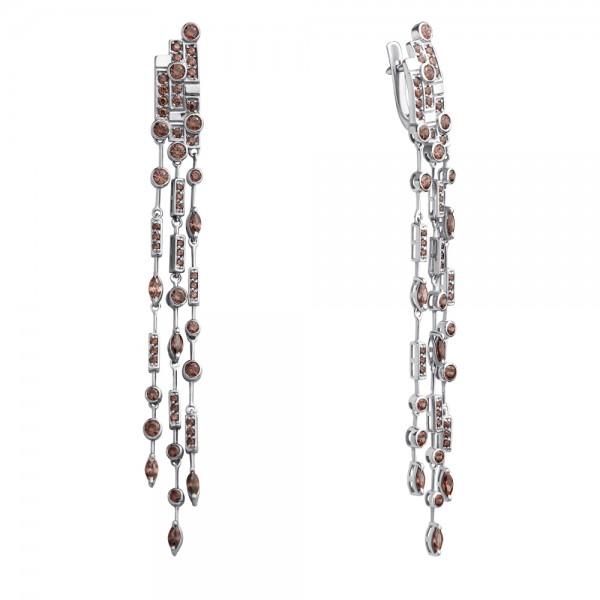 Серебряные серьги с фианитами коньячного ECzbr-00664/1Ag