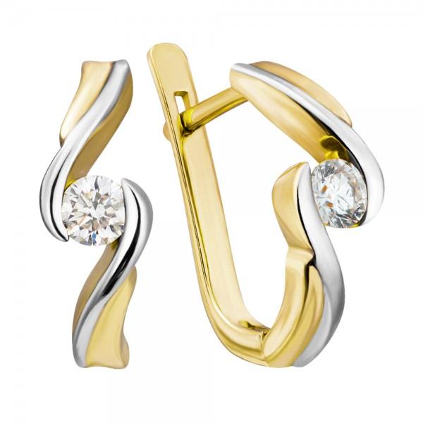 Ювелирные серьги из желтого золота 585 пробы с бриллиантами ED-6277y