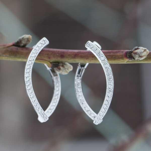 Ювелирные серьги из белого золота 585 пробы с бриллиантами ED-6852w