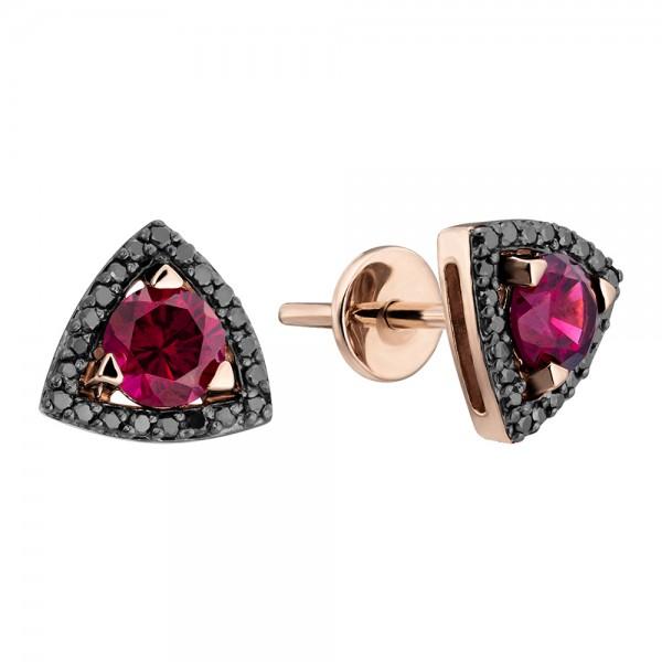 Ювелирные серьги из красного золота 585 пробы с родолитами и черными бриллиантами EDbRod-6686