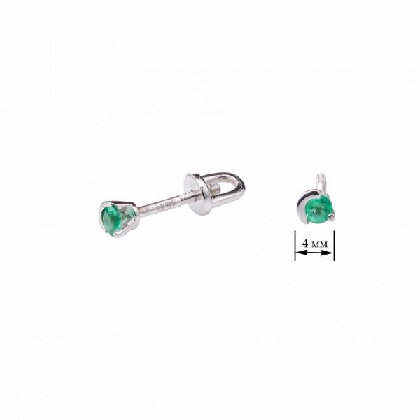 Ювелирные серьги из серебра 925 пробы с изумрудами EE-6951Ag