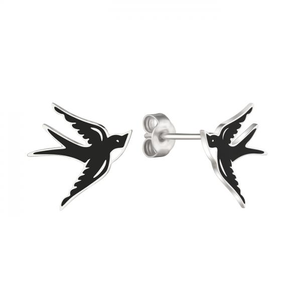 Серебряные серьги с эмалью  Небесные  ласточки EEnam-8102Ag