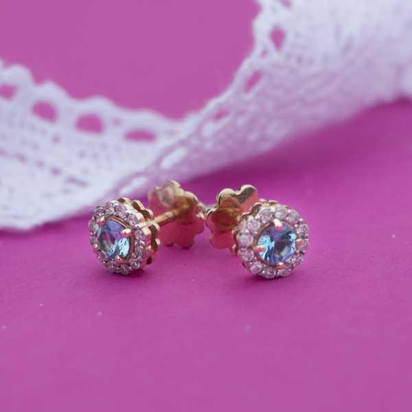 Золотые серьги-пусеты в красном золоте с топазами и бриллиантами ET-6539