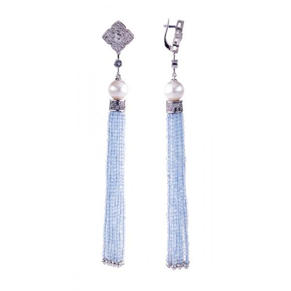 Ювелирные серьги из эксклюзивной линии с жемчугом, фианитами и кисточками голубых топазов ECzTP-00616Ag